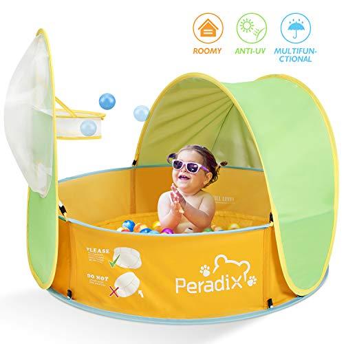 Peradix Tienda de Playa para Bebés Portátiles,2 en 1 Piscina de Bolas Bebe de Campaña para bebés con Cesta Pop-up Piscina Bebe Desmontable de Vacaciones en la Playa al Aire Libre Interior y Exterior