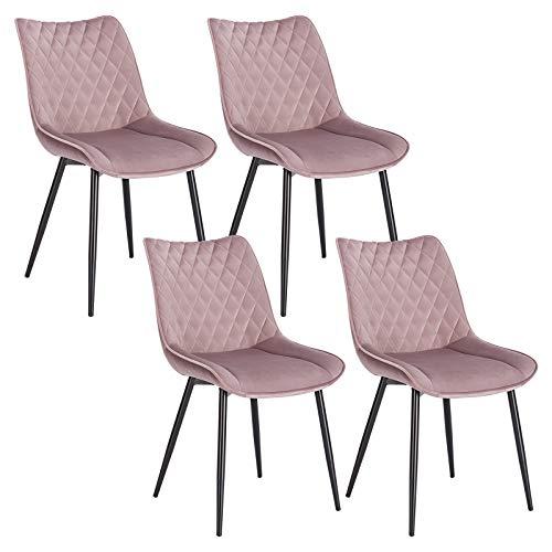 WOLTU 4 x Esszimmerstühle 4er Set Esszimmerstuhl Küchenstuhl Polsterstuhl Design Stuhl mit Rückenlehne, mit Sitzfläche aus Samt, Gestell aus Metall, Rosa, BH209rs-4