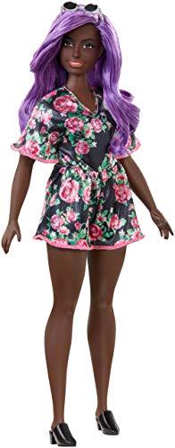 Barbie FXL58 - Fashionistas Puppe im Blumenoutfit mit lila Haaren, Spielzeug ab 3 Jahren