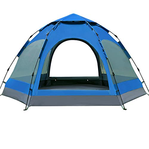 Outdoor Fully Automatic Hexagon Tent, Rainproof Breathable Camping Tent Includes Accessories, for Beach Festival Family Camping Hiking Garden Fishing Picnic 4
