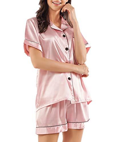 GAESHOW Ensemble pyjama 2 pièces en satin de soie pour femme à manches courtes et boutons - Rose - XXL