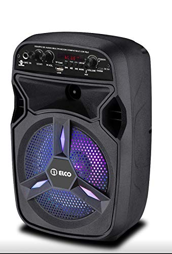 Elco - PDT-6060, Altavoz con 20W, Karaoke, Display Led con Digitos En Color Rojo, Bluetooth, Lector Micro-SD/USB, AUX, Mando a Distancia, Batería 3.7V 1200mAh, Micrófono Inalámbrico Incluido.