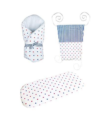 Vizaro - Pack Textil Paseo Bebé - 3 Artículos - Sábana, Arrullo, Toldo - - 100% Algodón - Hecho UE, OekoTex - Casetas