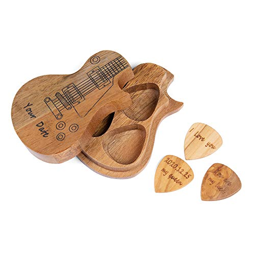 Fortheday Custom Wooden Guitar Pick Holder Box Collector with 3pcs Wood Guitar Picks Personalized Gifts for Boyfriend Her