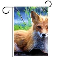 ガーデンヤードフラッグ両面 /12x18in/ ポリエステルウェルカムハウス旗バナー,狐