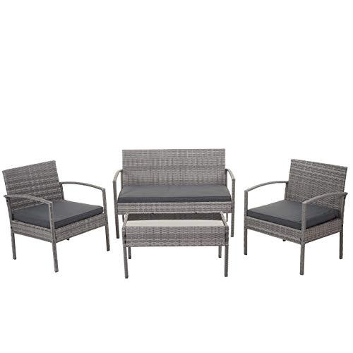 Mendler Poly-Rattan Garnitur HWC-F56, Balkon-/Garten-/Lounge-Set Sitzgruppe - grau, Kissen dunkelgrau