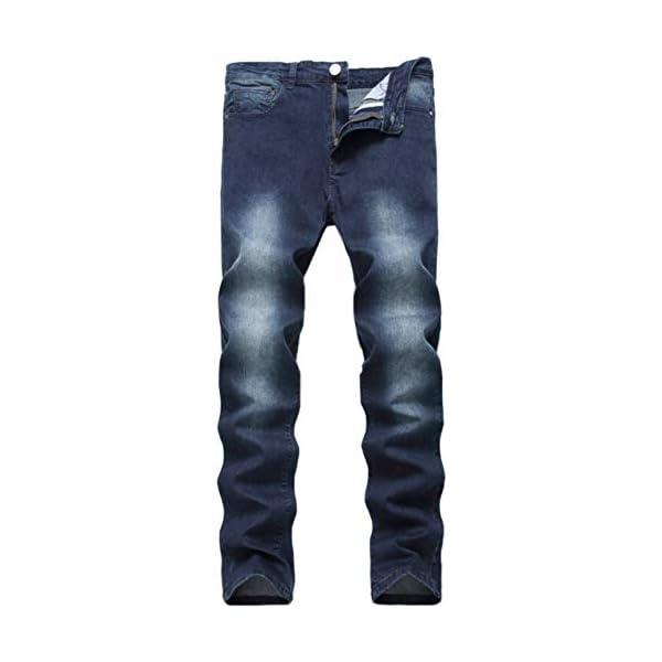 Men's Blue Skinny Jeans Stretch Washed Slim Fit Straight Basic Denim Pencil Pants 3