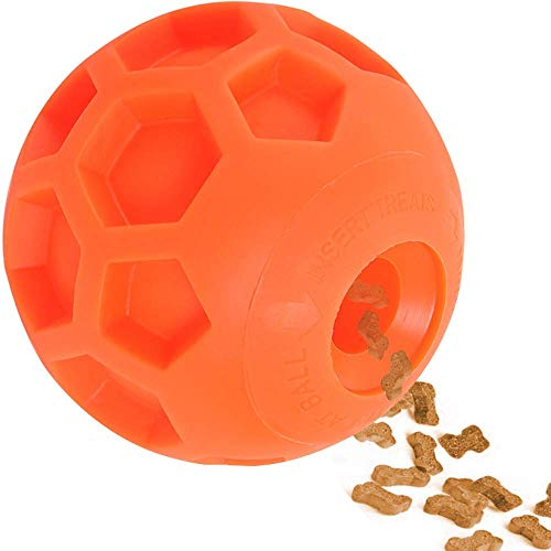 Hipat Dog Treat Ball, Fun Interactive Dog Food Dispenser Toy, Pet Healthy and IQ Ball, Environmental Soft Rubber, 3D Surface Soccer Better to Grip,with Fragrance (4.5 inch, Orange)