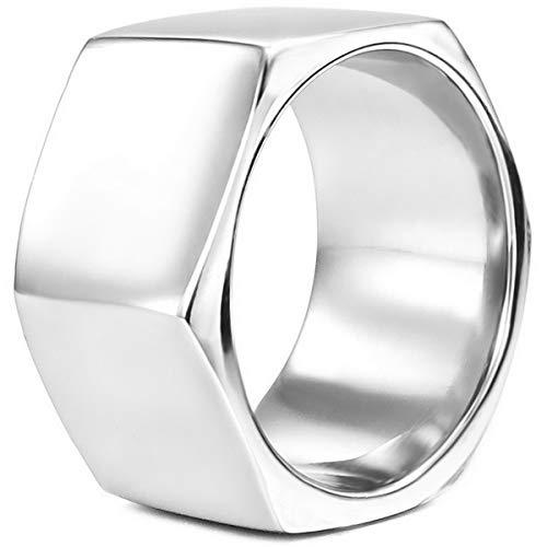 MunkiMix Edelstahl Ring Silber Ton Schraubenmutter Größe 62 (19.7) Herren