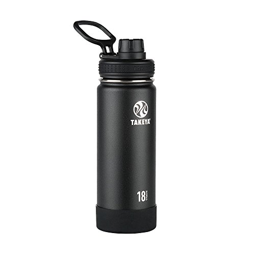 Takeya Actives Insulated Stainless Steel Water Bottle with Spout Lid, 18 oz, Onyx