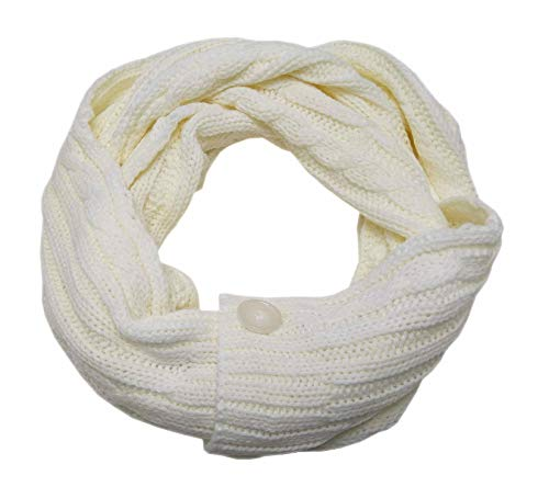 Tchibo Damen Strickschal Schlauchschal mit Knöpfen Schal Zopfmuster (Weiß)