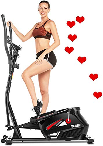 ANCHEER Elliptical Machine for Home Use, Elliptical Exercise Machine Trainer with APP Control Large Pedal & LCD Monitor Quiet Smooth Driven Max Weight Capacity 330lbs