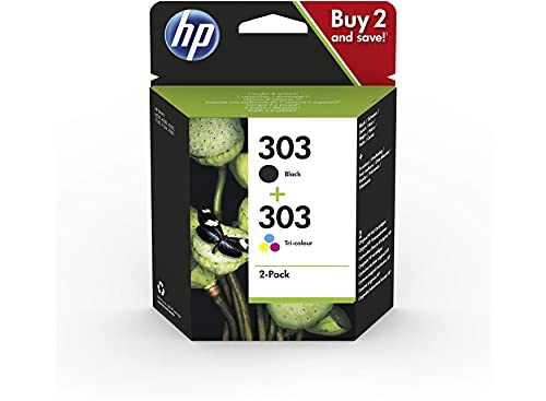 HP 303XL 3YN10AE Negro y Tricolor, Cartuchos de Tinta de Alta Capacidad Originales, Pack de 2, compatible con impresoras de inyección de tinta HP serie Tango, HP Envy serie 6200, 7100 y 7800