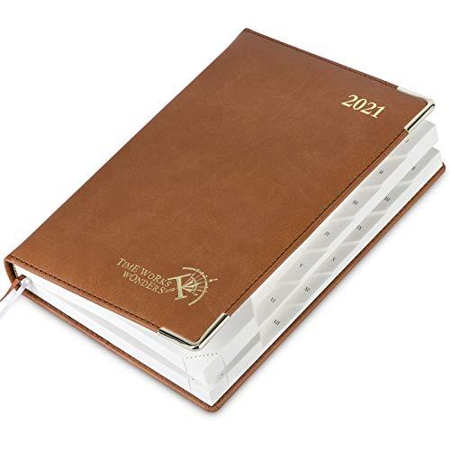 Tagesplaner/Tageskalender 2021 A5 - Terminkalender 1 Tag 1 Seite - Terminplaner Hardcover Veganem Leder, Kalender und Planer 2021, 416 Seiten, Braun