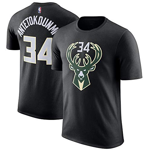 Outerstuff NBA Youth Performance Game Time Team Color Player Name and Number Jersey T-Shirt (X-Large 18/20, Giannis Antetokounmpo Black)