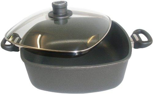Woll 1028-ILL Viereck-Gussbräter Induction 28 cm x 28 cm 6.0 Liter und Sicherheitsglasdeckel im Geschenkkarton