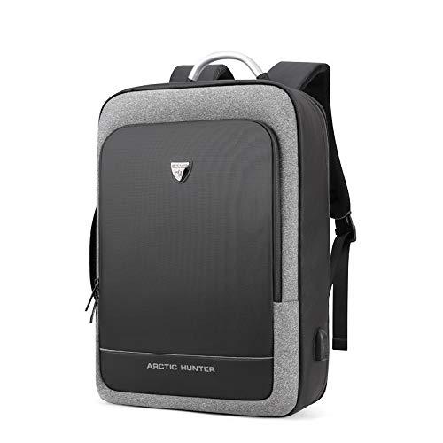Hanggg Multifunctionele rugzak voor heren, 17 inch (17 cm), reistas voor laptop, school, rugzak voor heren met grote inhoud 17 pollici Lichtgrijs