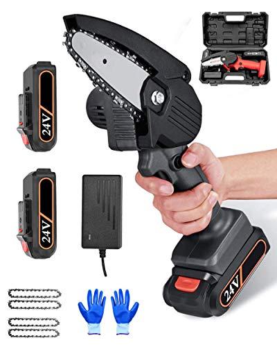 Motosierra eléctrica recargable, batería de 4 pulgadas, cortadora de madera a pilas, con aislamiento acústico, dispositivo de protección de botones, color negro
