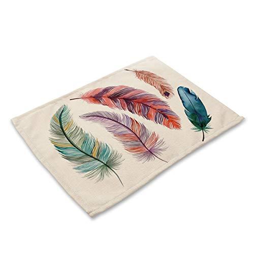 Antideslizante Resistente al Calor 6 Piezas de Color Pluma de impresión de Color manteles manteles patrón para Comedor/Cocina (Color : B)