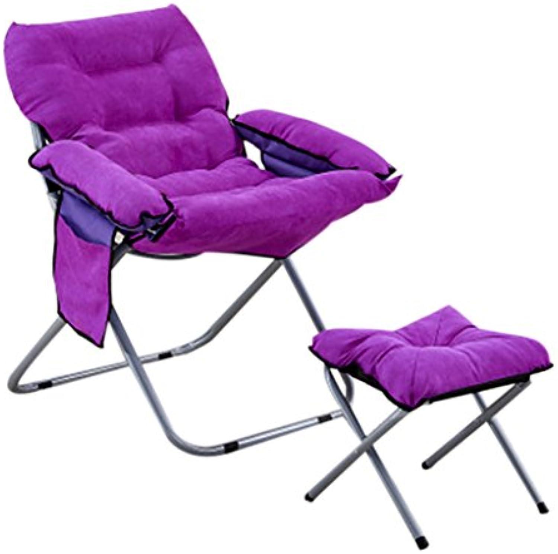 Moon Chair Lazy Folding lila Sonnenliegen Single Recliners Verstellbare Stühle (gre   Recliners Chair+Pedal)