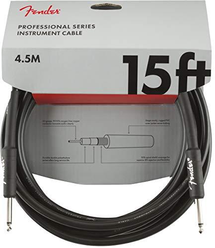 Fender 099-0820-021 Cable de instrumentos de la serie profesional, 15 ', STR/STR, negro