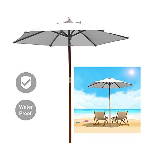LSM Sombrillas para Patio Sombrilla Blanca, Sombrilla Resistente al Agua con Poste de Madera y 8 Varillas, Sombrillas de Exterior de 2,1 M para Patio/Jardín/Terraza/Playa