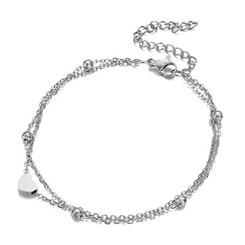 UEUC Damen Fußkette mit kleinem Herz in Silber Gold oder Rose mit 18K Vergoldung   Frauen Schmuck aus Edelstahl   Doppelkette Edelstahl für Mädchen mit Verschluss