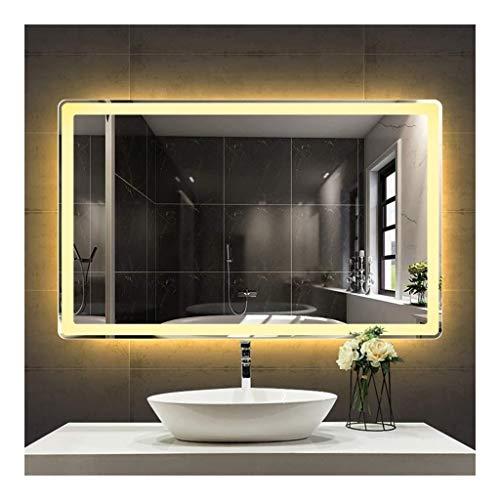 JKFZD Badezimmer Spiegel Wandspiegel Rahmenlose Hintergrundbeleuchtete Wandspiegel Anti-Fog-Touch-Taste Zeit- Und Temperaturanzeige Weißes und Warmes Licht (Size : 700mm*900mm)