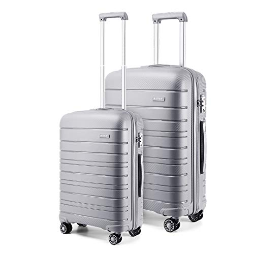 Kono 2 Piece Lightweight Luggage Set Polypropylene 20' Carry-on Hand Cabin Luggage + 28' Check in Hard Shell Suitcase with TSA Lock (Grey)