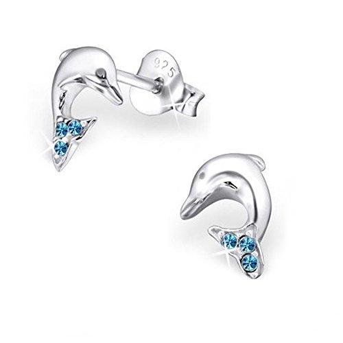 GH1a Blau Kristall Delfin Ohrstecker Ohrringe 925 Echt Silber Mädchen Damen Ohrhänger Delphin (Kristall-Blau)