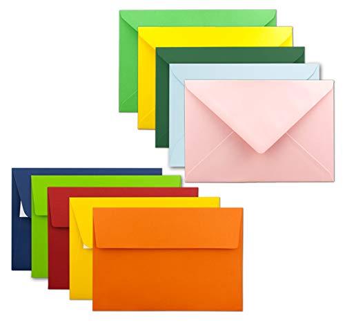 50x farbige Brief-Umschläge gemischt - DIN B6 - ca 120 x 180 mm (125 x 176mm) - Bunte Mischung - Haftklebung/Nassklebung - Mit und Ohne Futter - Gustav NEUSER®