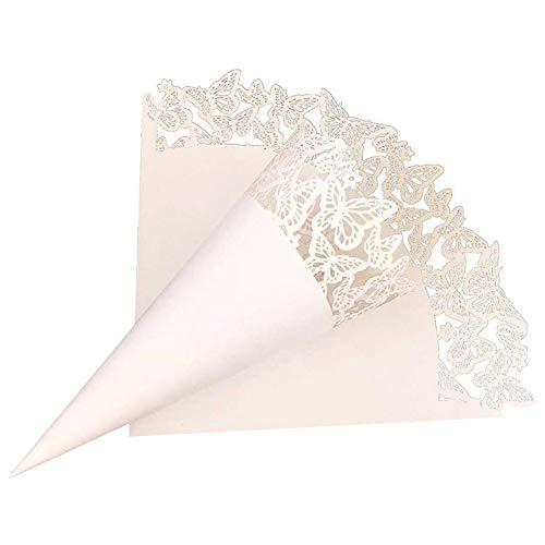 SIMUER Mariposa Conos Papel Boda Blanco,50 pcs Cono de Papel Blanco de Boda para Petalos, Confeti y Arroz con Adhesivo de Doble Cara Decoración Boda