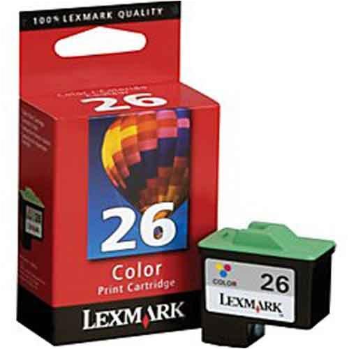Lexmark #26 Color Print Cartridge - Cartucho de tinta para impresoras (Cian, Magenta, Amarillo, i3, X74, X75, X1100 Series, X2200 Series, Z13, Z23, Z25, Z33, Z35, Z500 Series, Z600 Series, Inyección de tinta)