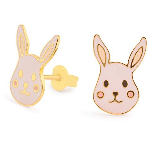 Monkimau 750 orecchini placcati oro conigli gioielli per bambini donne ragazze orecchini regalo
