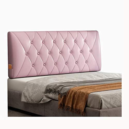 WENZHE Cabecero Cama Cojines Tapizado Cojín Lectura Almohadas, PU Suave Espalda Lleno Botones Diseño, Usado para Hotel Dormitorio, Tamaño Personalizado (Color : Pink, Size : 160x60x10cm)