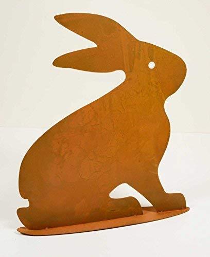 déco lapin assis couleur rouille, hauteur x largeur: 28x26cm, sur plaque de base, métal, 72617