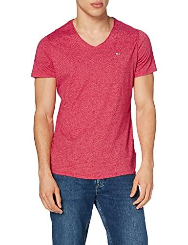 Tommy Jeans Tjm Slim Jaspe V Neck T-Shirt, Rosa Ciliegia Brillante Htr, L Uomo