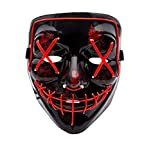 Himine Halloween Mask Cosplay LED Light up Purge Mask for Festival Party (Red)