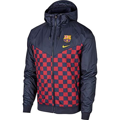 Nike Performance FC Barcellona Uomo Tessuta Giacca a Vento - Blu Scuro/Rosso, M