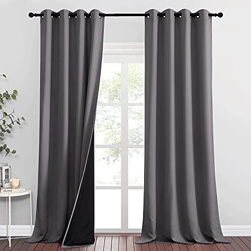 RYB HOME Extra Long Curtains - 100% Blackout Curtains Bedroom Window Curtains Sun Light Blackout Curtains for Sliding Glass Door Backdrop Sunroom, 52 x 108 inches Long, Grey, 2 Panels