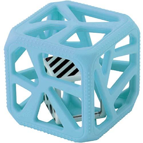 MALARKEY KIDS Kids Hochet Cube de Dentition en Silicone Alimentaire Facile à Agripper Bleu 1 Unité
