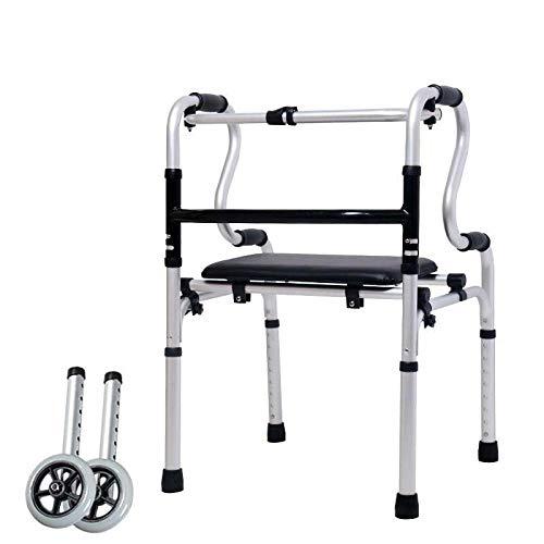 Ruedas Bastidor para Andar Andadores estándar Ayuda con Asiento Apoyabrazos Soporte Aleación de Aluminio Gruesa Rehabilitación Vida Diaria Auxiliar para Ancianos discapacitados