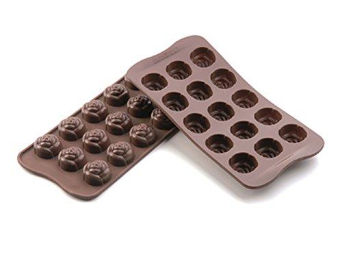 Silikomart 22.113.77.0065 SCG13 Moule pour Chocolat Forme Rose 15 Cavités Silicone Marron