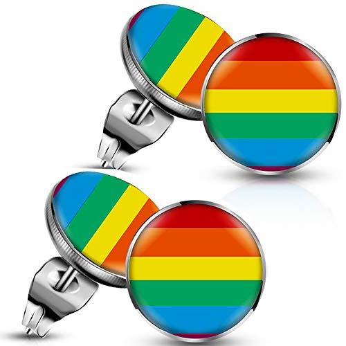 ANDERK 4 piezas Rainbow Earring Pendiente Del Arco Iris Gay Pride Charm Pendientes de Acero Inoxidable para Hombres Mujeres Regalo de Joyería de Moda