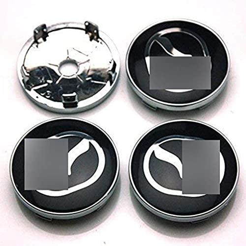 Liuyunding 4 Piezas Tapas Centrales para Llantas para Mazda 2 3 6 CX-5 CX-7 CX-8, con Logo Rueda Centro Tapacubos Tapas Accesorios De DecoracióN De Coches, 60mm