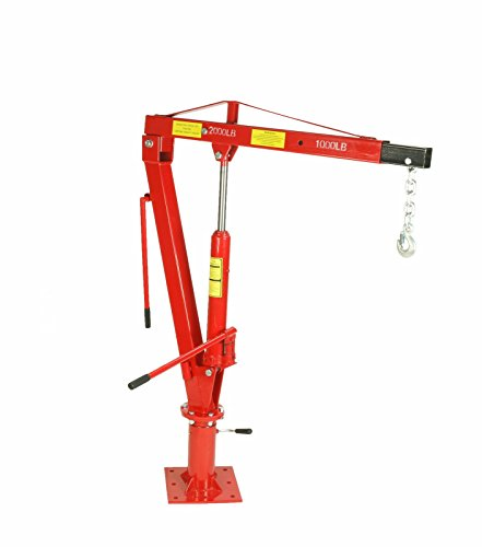 Dragway Tools 2000 LBS Swivel Base Hydraulic Engine Hoist Foldable Davit Crane fits Pickup Truck with Removable Base