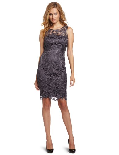 Adrianna Papell Damen Illusion Neck Lace Dress Kleid, anthrazit, 44