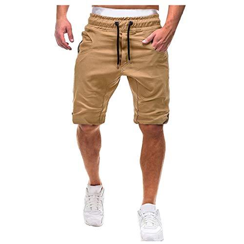 Pantalones Cortos para Hombre Verano Cargo Shorts Bermuda Deporte Short Pantalón Sweatpant Gym Leisure Elástico Regular ZOELOVE Holgados con cordón Pantalones Cortos