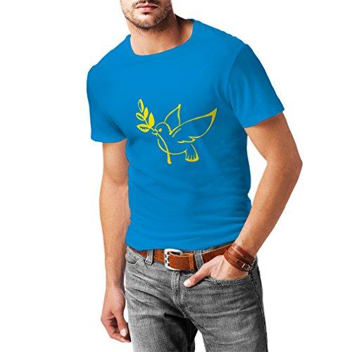 N4116 T-Shirt Friedenstaube Zweig Liebe Güte der Menschheit T-Shirt Fruit of The Loom, Herren t Shirt (L, Hellblau T-Shirt/Gelb Bild)