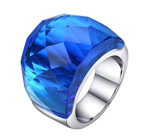HIJONES Retro Anillo de Cristal Grande para Mujer Hombre Acero Inoxidable con Zirconia Cúbica Estilo de la Corte Real Azul Tamaño 19